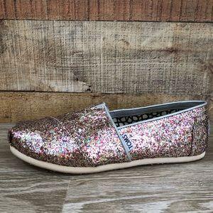 Toms glitter sparkle multicolor slip on women's 8